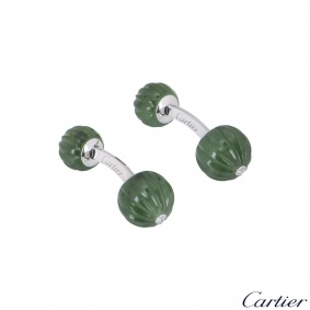 Cartier White Gold Diamond And Jade Bead Cufflinks